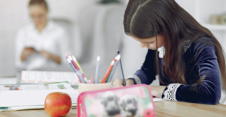girl homeschooling and learning at their pace